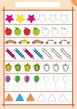 Farbe und schließen das Muster, Arbeitsblatt für Kinder ab Lizenzfreie Stockfotos