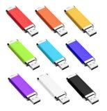 Farbe-USB-Blitz-Antrieb lokalisiert auf Weiß Lizenzfreie Stockfotos
