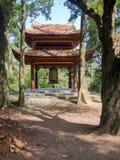 Farbe, Vietnam - 13. September 2017: Schließen Sie oben von einer alten schönen Hütte innerhalb des Waldes, gefunden in der Farbe Stockfotografie