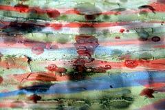 Farbe, Wachs, Schlamm und Aquarell auf gebranntem Hintergrund Stockfoto