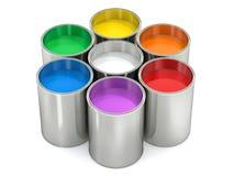 Farbeimer - mit farbiger Farbe lizenzfreie abbildung