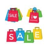 Farbeinkaufstaschen - Verkaufskonzept Stockfotos