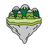 Farbeisberge und -büsche in der Flossinsel stock abbildung