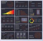 Farbelemente von infographics für Darstellungsschablonen auf Dunkelheit lizenzfreie abbildung