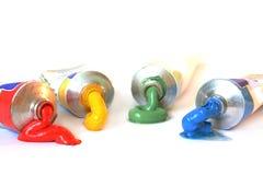 FarbenÖlfarbe in den Gefäßen Stockfoto