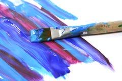 FarbenÖlfarbe und Pinsel Stockbild