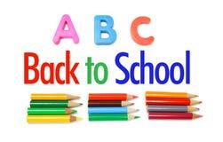 Farben-Bleistifte und Alphabete Lizenzfreies Stockbild