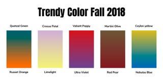 Farben der 2018 Fall Martini-Olive, Quetzal-Grün, rote Birne, ultraviolettes, Rampenlicht, grobe Orange, Ceylon-Gelb vektor abbildung