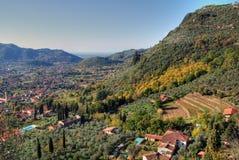 Farben des Falles in Toskana-Landschaft, Italien Stockbild