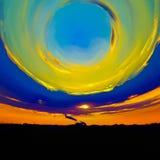 Farben des Himmels umfasst zur Erde Stockbild