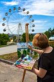 Farben eines Nahaufnahmekünstlers Lizenzfreie Stockfotos