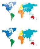 Farben-Kontinent- und Landkarte Stockbilder