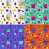 4 Farben nahtlosen Memphis-Musters, Vektorillustration Lizenzfreies Stockbild