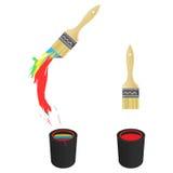 Farben-Pinsel und Wanne Lizenzfreies Stockbild