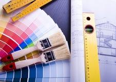 Farben-Proben u. Plan Stockbilder