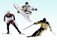 Farben-Skifahrentrio Stockfoto