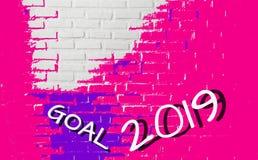 Farben spritzen auf Beschaffenheitsbacksteinmauer, für dekoratives Netz und grafischer abstrakter Hintergrund, feiern Ziel 2019,  stockfoto