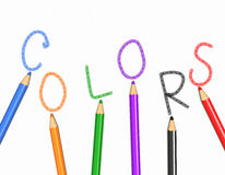 Farben und Bleistifte Stockfoto
