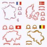 Farben von Frankreich, von Dänemark, von Schweiz und von Belgien Stockbild