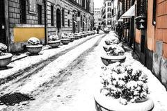 Farben von Rom unter Schnee stockfotografie