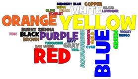Farben-Wort-Wolke Lizenzfreie Stockbilder