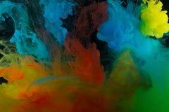 Farbenabstraktion auf einem schwarzen Hintergrund Stockbild