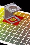 Farbenanleitung für Versatzdruck auf schwarzem blackground Stockfotos