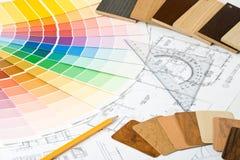 Farbenanleitung, materielle Proben und Lichtpause Lizenzfreie Stockfotografie