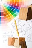 Farbenanleitung, materielle Proben und Lichtpause Stockbild