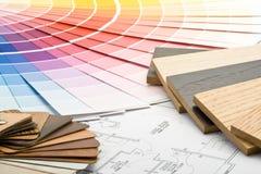 Farbenanleitung, materielle Proben und Lichtpause Lizenzfreies Stockbild