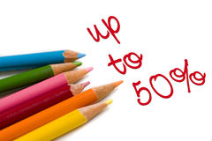 Farbenbleistift mit 50% weg vom speziellen Abkommen Stockbilder