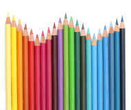Farbenbleistifte über Weiß Lizenzfreie Stockfotografie