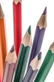 Farbenbleistifte über Weiß Stockfotografie