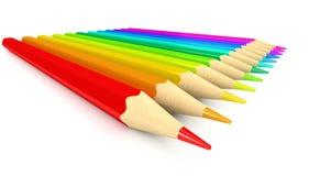 Farbenbleistifte über weißem Hintergrund Stockbilder