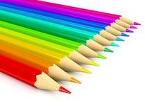 Farbenbleistifte über weißem Hintergrund Stockfoto