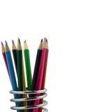Farbenbleistifte in einer Bleistifthalterung Stockfotografie