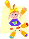 Farbenbleistifte zeichnen das Mädchen. Lizenzfreie Stockfotos
