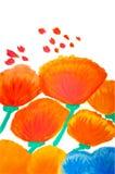Farbenblumen im Aquarell handgemalt Lizenzfreie Stockbilder