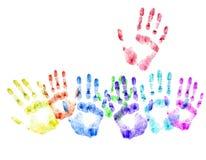 Farbendruck der menschlichen Hände. Konzept der Abstimmung Stockbild