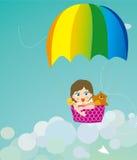 Farbenfallschirm auf Kindern und Tieren Lizenzfreie Stockfotos