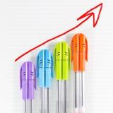 Farbenfeder-Geschäftsdiagramm Lizenzfreies Stockfoto