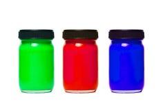 Farbenflaschen Stockfoto
