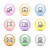 Farbenkugelweb-Ikonen, Set 1 Stockfoto