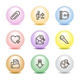 Farbenkugelweb-Ikonen, Set 11 Stockfotos
