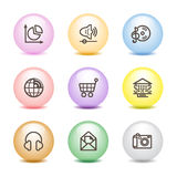 Farbenkugelweb-Ikonen, Set 5 Lizenzfreies Stockbild