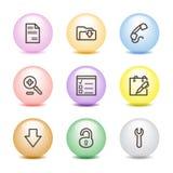 Farbenkugelweb-Ikonen, Set 8 Lizenzfreies Stockbild