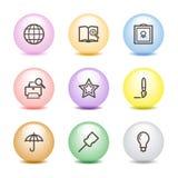 Farbenkugelweb-Ikonen, Set 9 Stockfotos