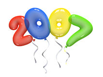 Farbenluftballone 2007 auf weißem Hintergrund Lizenzfreie Stockfotos