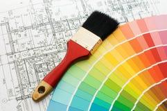Farbenproben für Auswahl mit Hausplan Stockfotografie