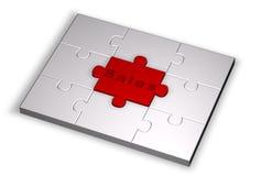 Farbenpuzzlespiel mit Verkaufswort Stockfotos